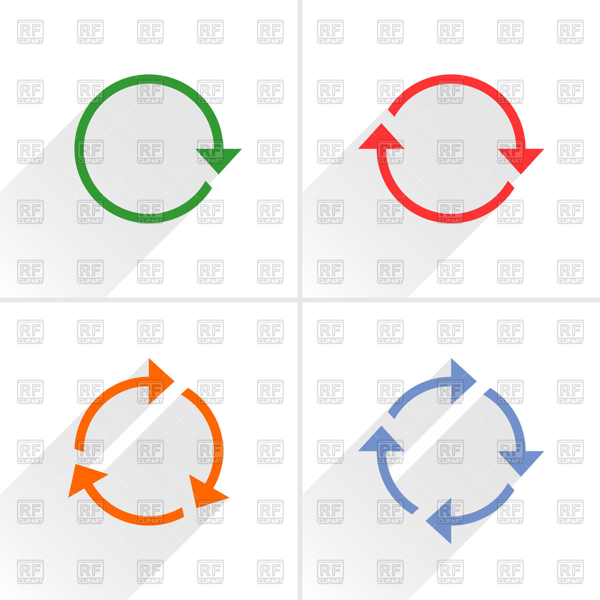 Thin rotary motion arrows Vector Image #48739.