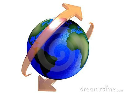 Earth: Rotating Earth In Various Colors Stock Illustration.