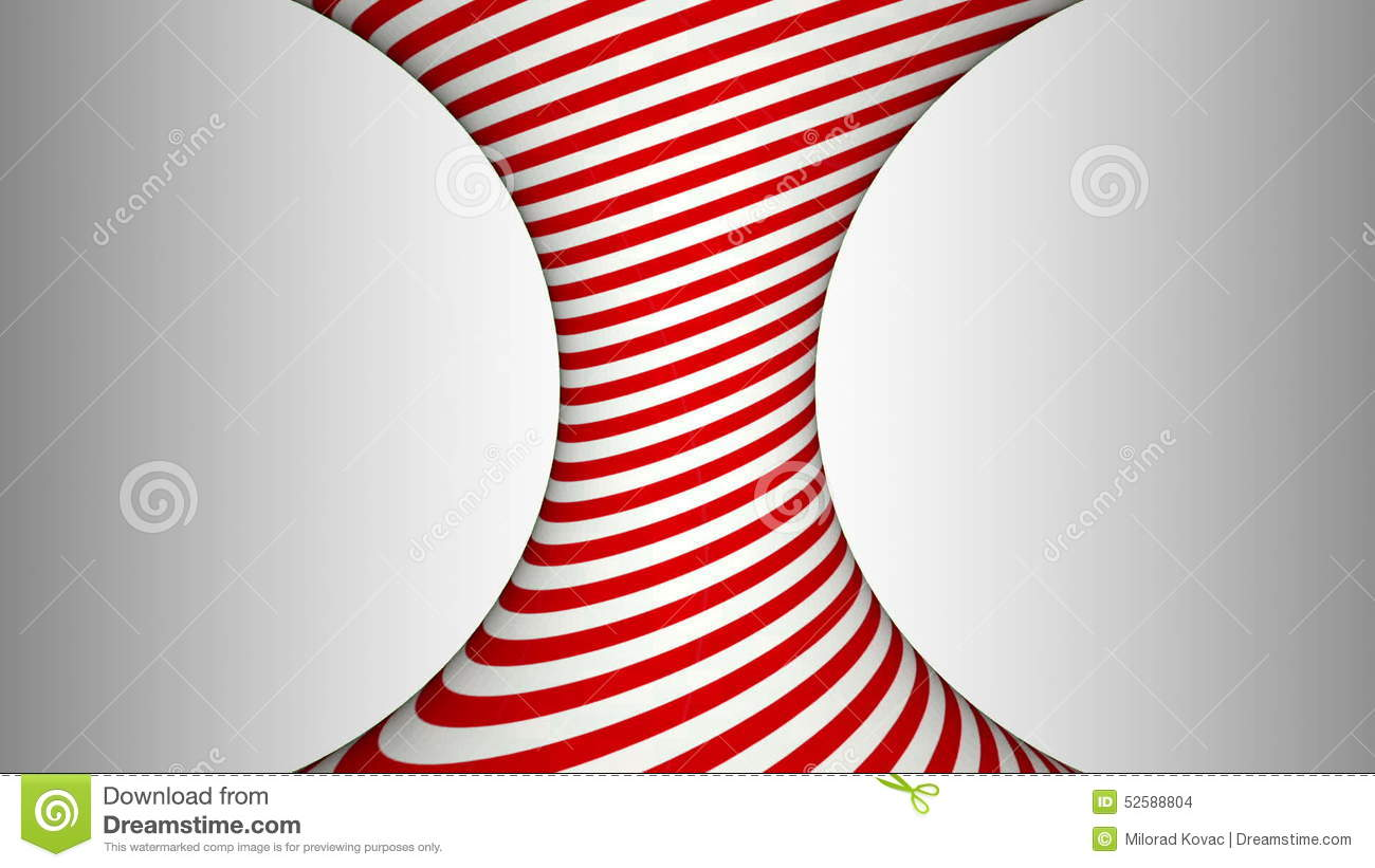 Red And White Concave Rotating Cylinder With Hypnotic Effects.