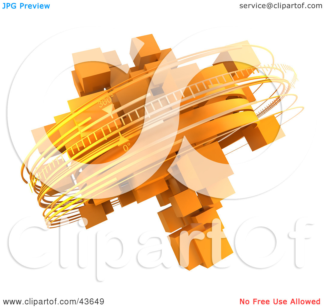 Clipart Illustration of Rotating 3d Rings Around Orange Cubes by.