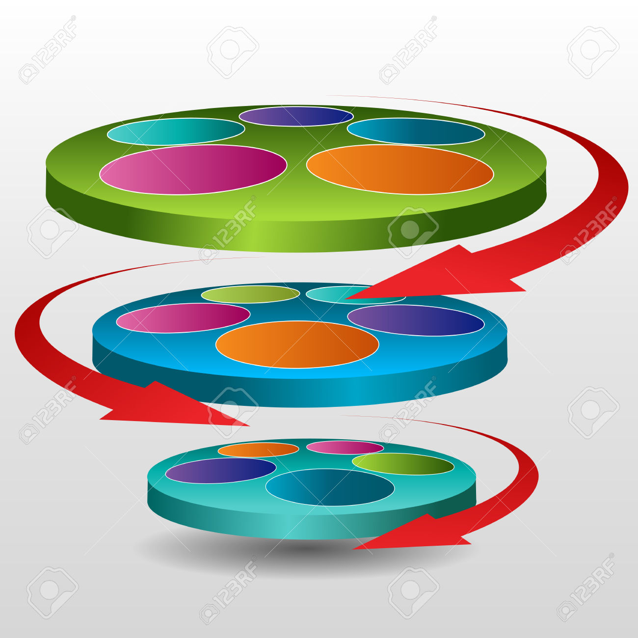 An Image Of A 3d Rotating Disc Chart Icon. Royalty Free Cliparts.