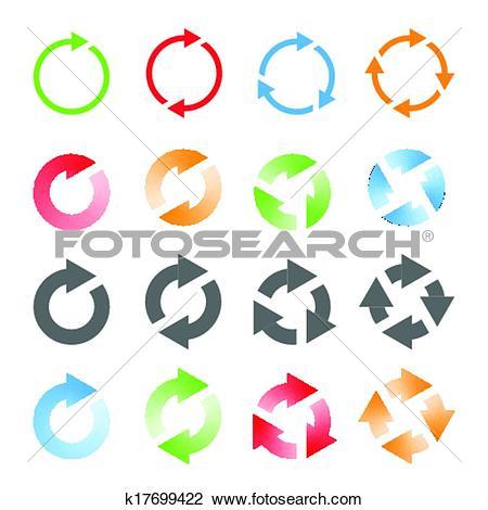 Clipart of Rotating Arrows Set. Vector Illustration k17699422.