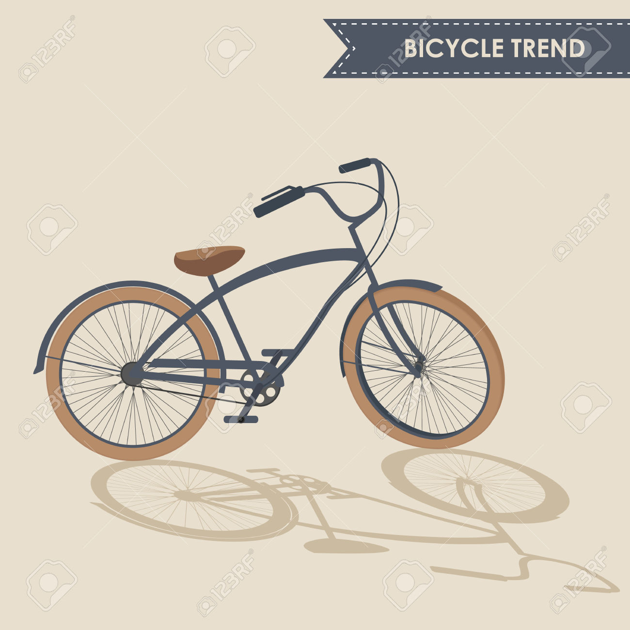Trendy Bike With Rotated Handlebar And Oblique Shadow On Beige.