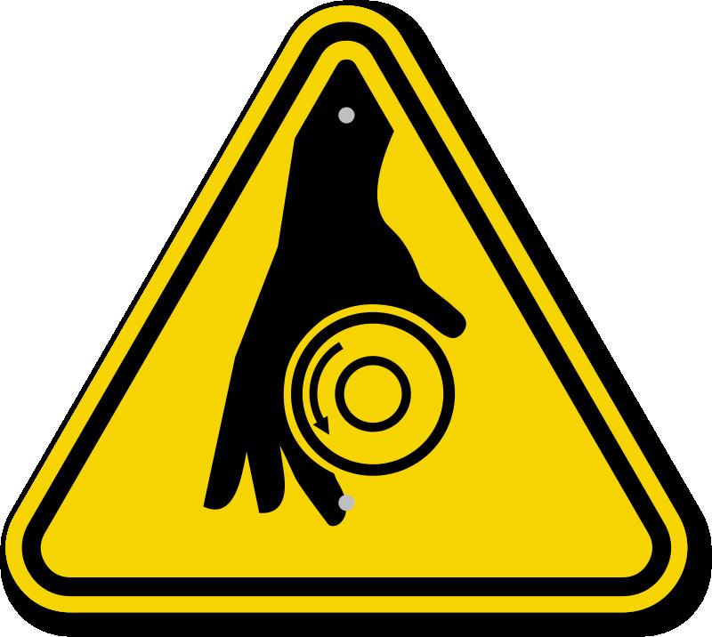 Showing post & media for Rotating shaft warning symbol.