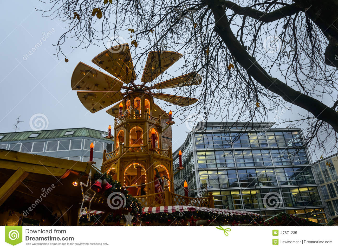 The Rotating Tower At The Rindermarkt Christmas Market In Munich.