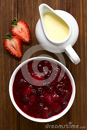 German Rote Gruetze Red Berry Pudding Stock Photo.
