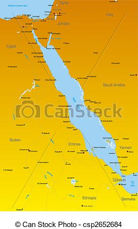 Drawing of Red Sea region countries.