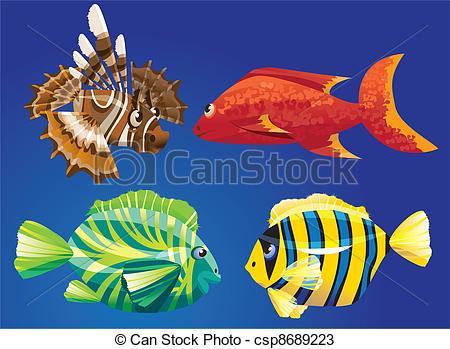 Vektoren von Fische, rotes, meer.