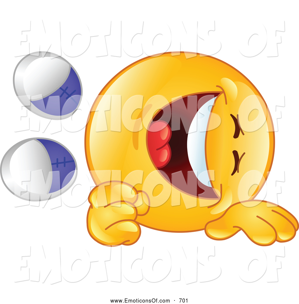 Clip Art Vector Cartoon of a Yellow Emoticon ROTFL Rolling on the.
