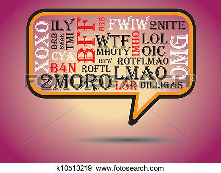 Clip Art of Most commonly used chat and online acronyms and.