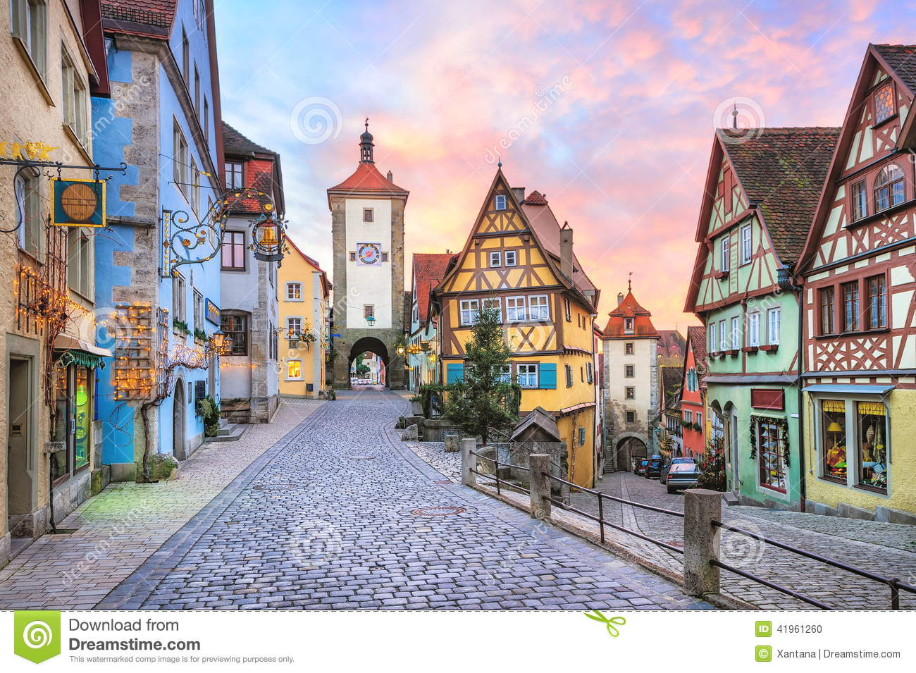 Historic Town Of Rothenburg Ob Der Tauber, Bavaria, Germany Stock.