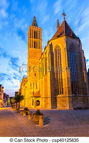 Stock Photos of Rothenburg ob der Tauber Church, Franconia.