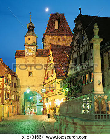 Picture of Picturesque Cobbled Street at Night, Rothenburg ob der.