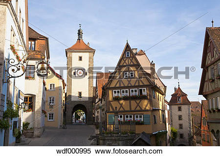 Stock Image of Germany, Bavaria, Franconia, Rothenburg ob der.