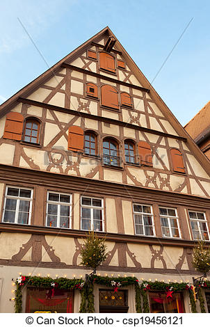 Stock Photo of Traditional Half Timbered House in Rothenburg ob.