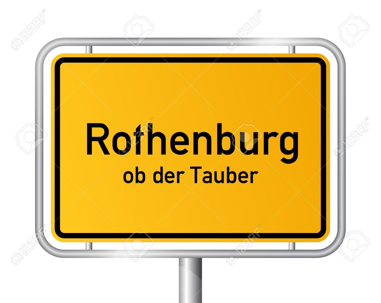 City Limit Sign ROTHENBURG OB DER TAUBER Against White Background.