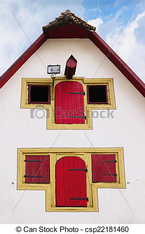 Stock Image of Facade of old medieval house in Rothenburg ob der.
