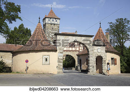 Stock Photo of Rodertor, Roder Gate, Rothenburg ob der Tauber.