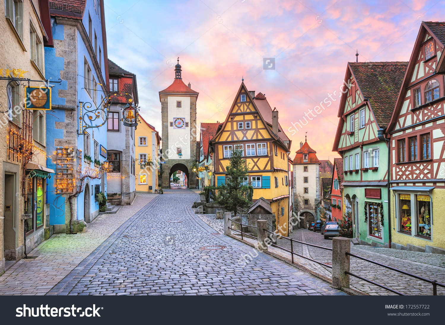 Rothenburg Ob Der Tauber Picturesque Medieval Stock Photo.