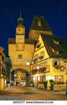 Winter night scene in Rothenburg, Germany.