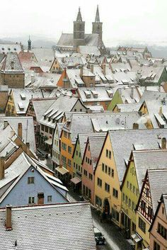 Winter night scene in Rothenburg, Germany.