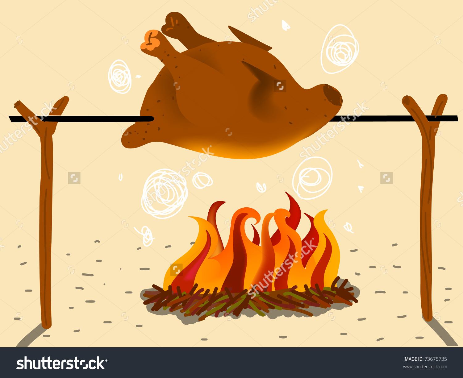 Roasted chicken clipart