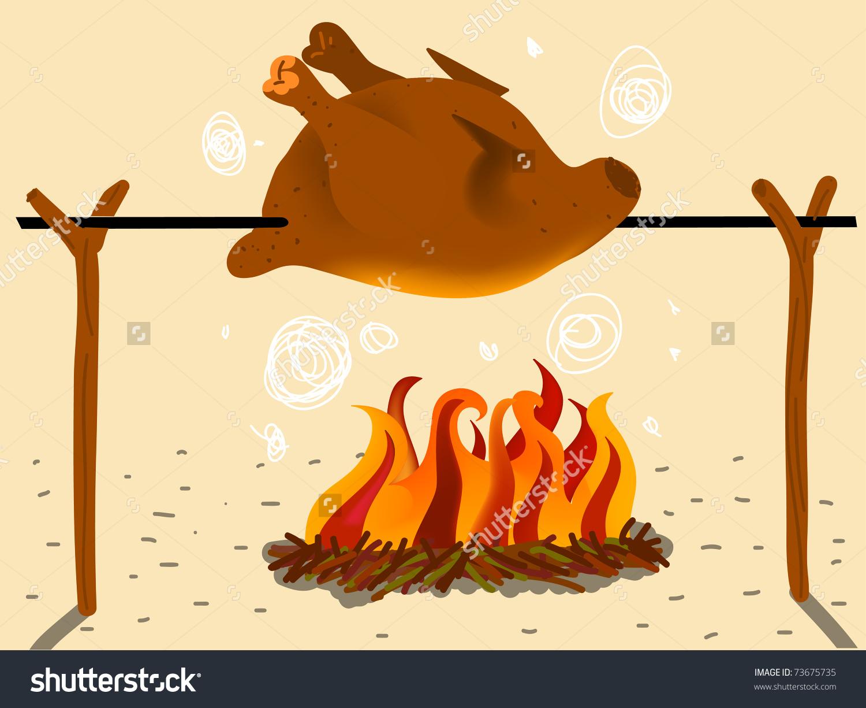 Roast Chicken Spit Coal Stock Vector 73675735.