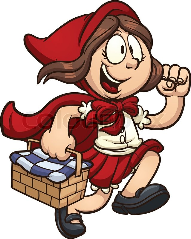 Little Red Ridding Hood. Vector clip art cartoon illustration with.