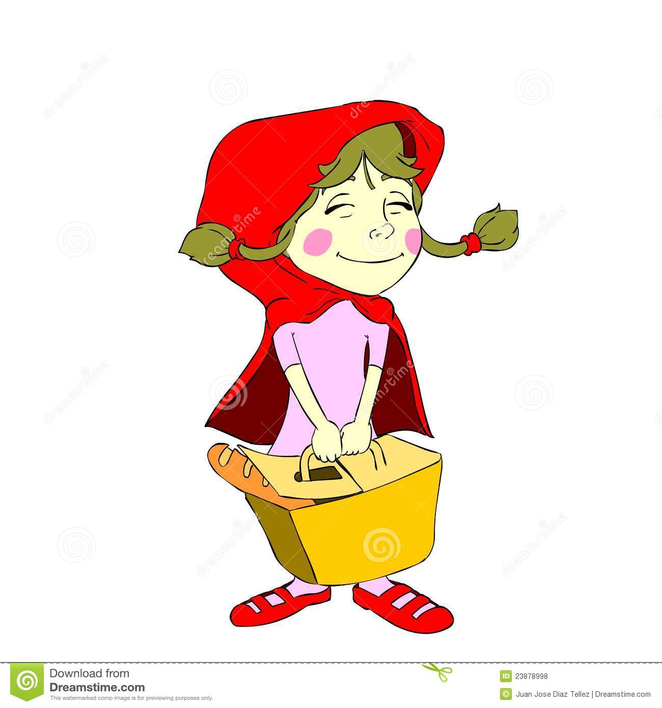 Isolated Little Red Riding Hood Royalty Free Stock Photos.