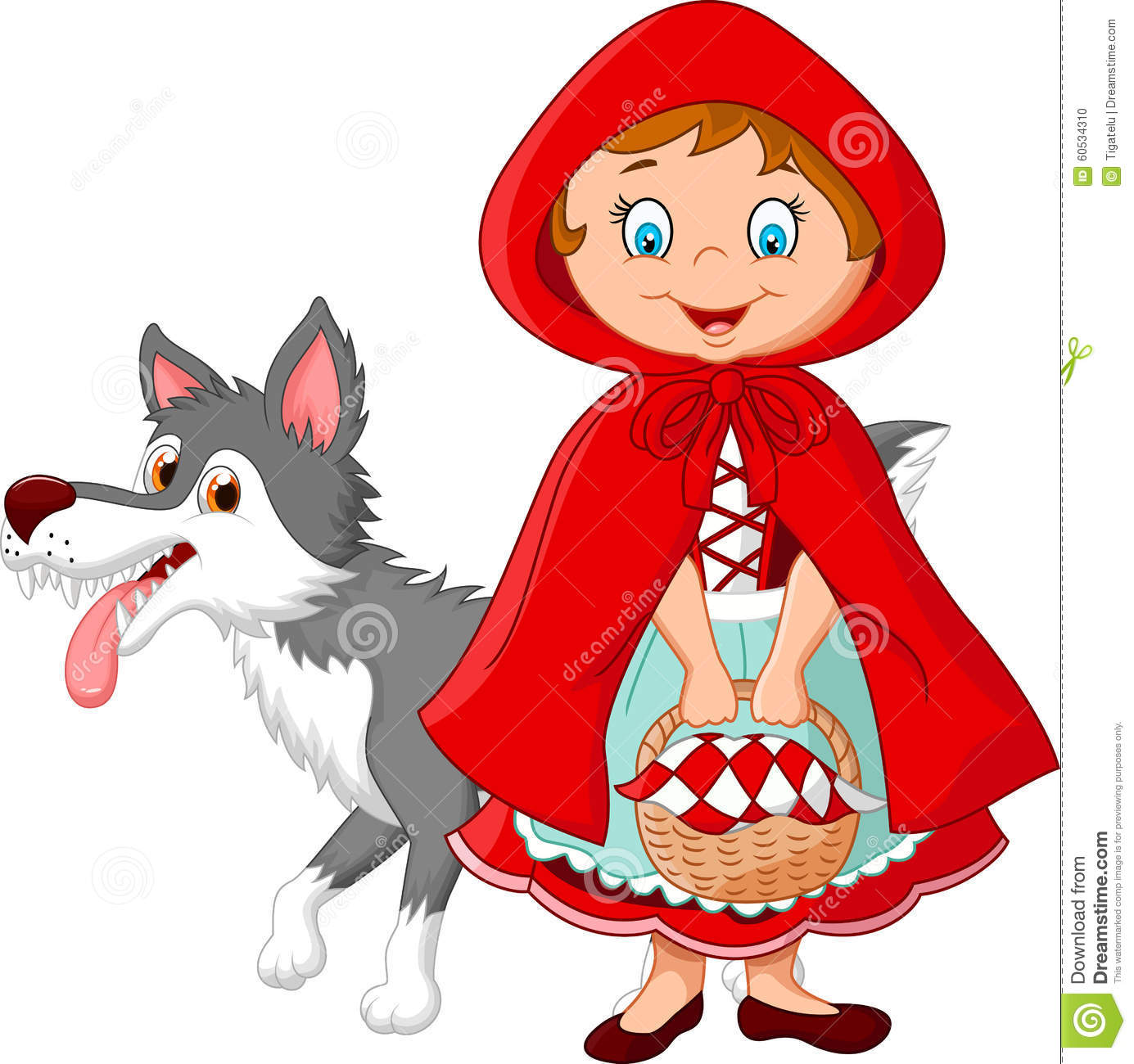 Little Red Riding Hood And Wolf Royalty Free Stock Photos.