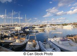 Stock Photography of Porto Rotondo harbor in Sardinia, Costa.