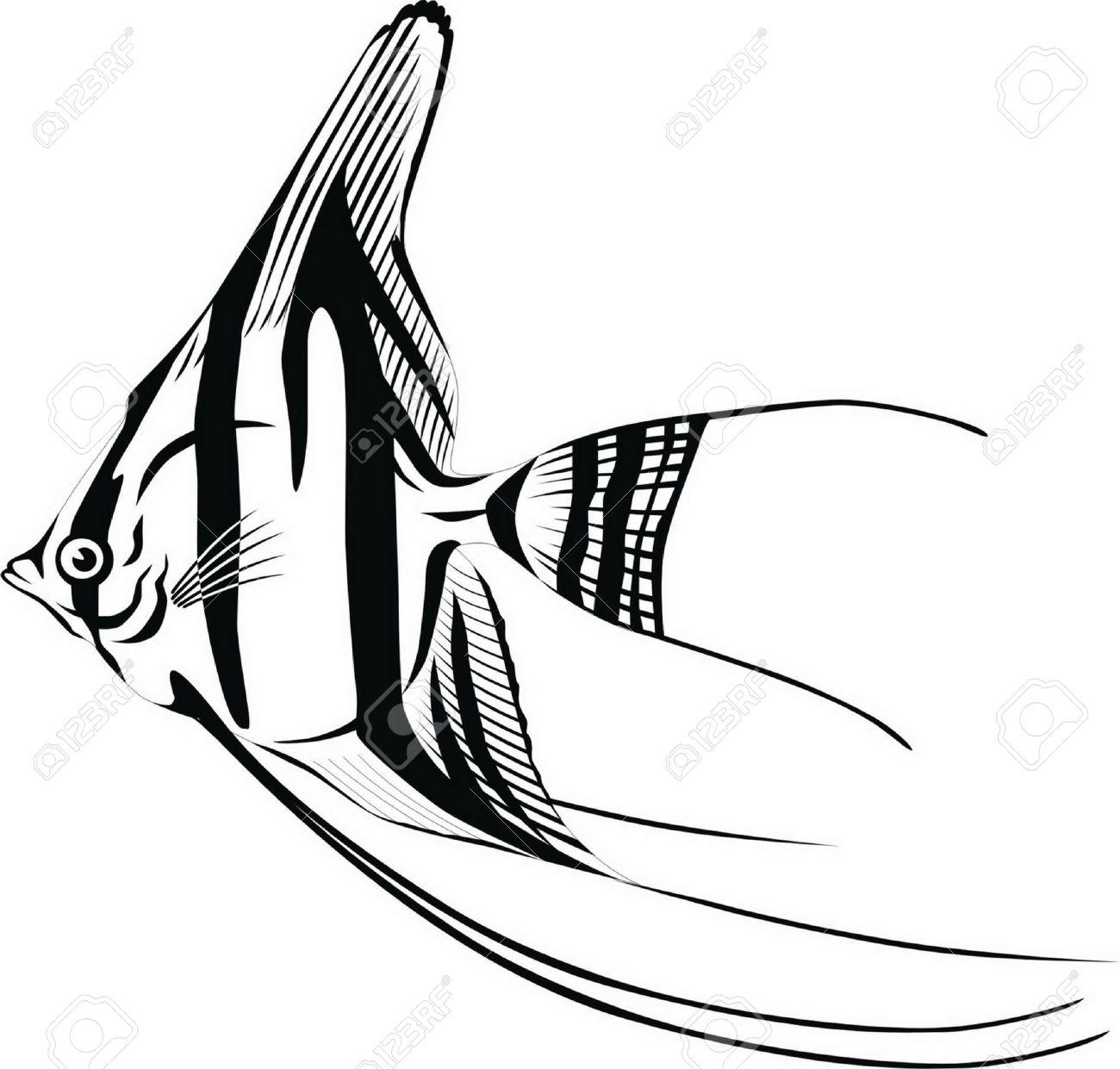 Strisce Di Pesce Con Un Corpo Rotondo E Pinne Lunghe. Clipart.