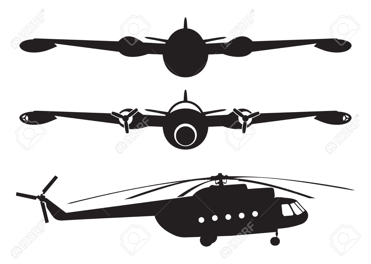 Airplane And Helicopter Silhouette Royalty Free Cliparts, Vectors.