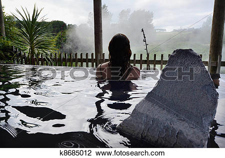 Stock Photo of New Zealand Hot Spring and Spa Pool in Rotorua.