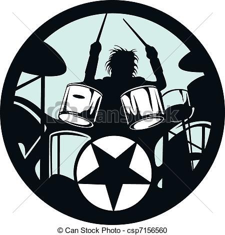 Vector Clipart van cirkel, drummer, ster, rots.