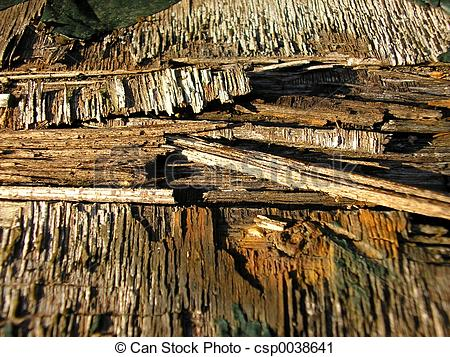 Stock Photography of rotten wood.