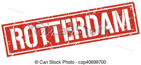 Vector Clipart of Rotterdam red square stamp csp40699700.
