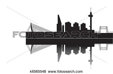 Clip Art of rotterdam skyline k6565548.