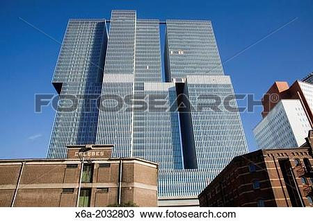 Stock Photo of The De Rotterdam building designed by architect Rem.