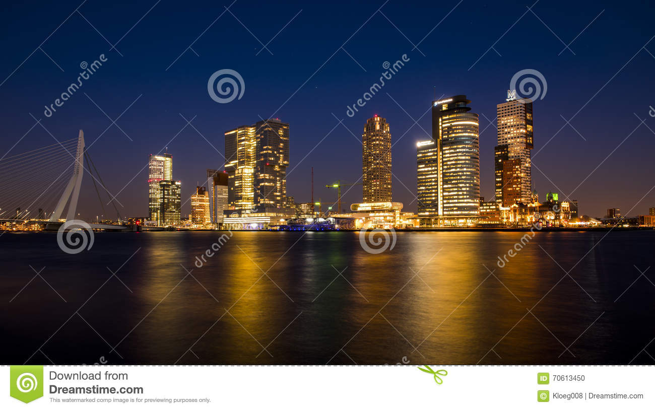 Rotterdam Wilhelmina Pier At Night Editorial Image.