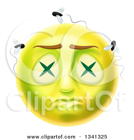 Clipart of a 3d Dead Rotting Smiley Emoji Emoticon Face with Flies.