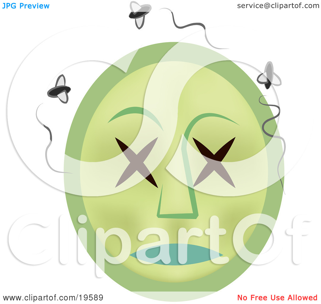 Clipart Illustration of a Rotting Dead Emoticon Face Surrounded By.
