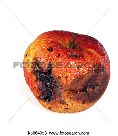 Stock Photo of Rotten and fresh apples isolated on white k5864973.