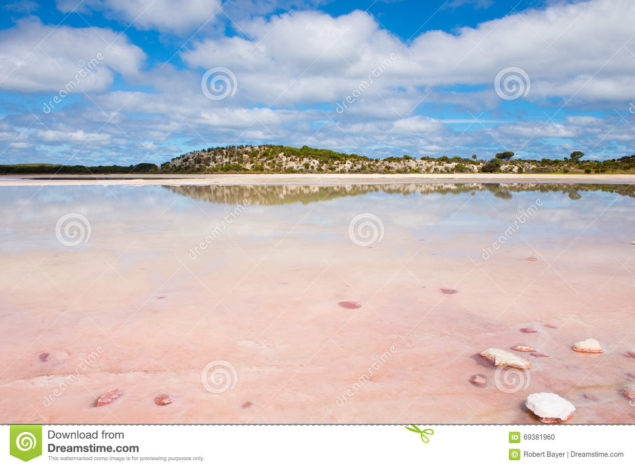 Scenic Salt Lake Rottnest Island Australia Stock Photo.
