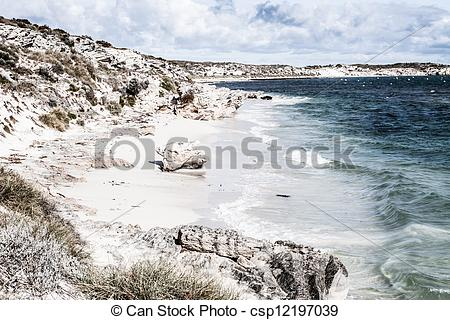Stock Photos of Scenic view over one of the beaches of Rottnest.