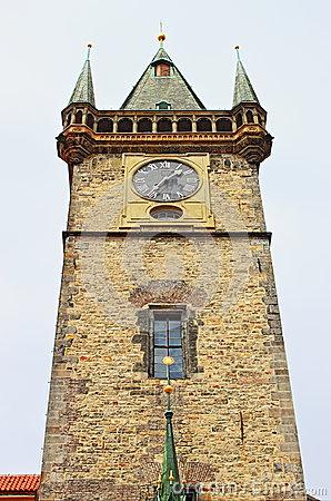 Round Stone Tower In European Town Royalty Free Stock Photos.
