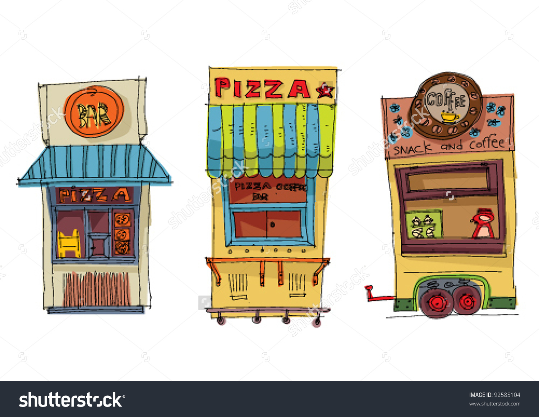 Coffee Pizza Kiosk Set Stock Vector 92585104.