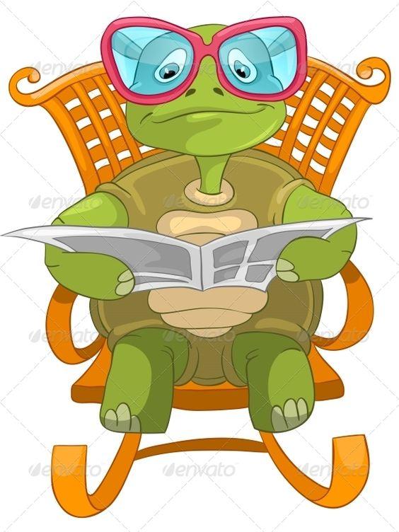 Turtle Reading.  adorable, animal, art, caricature, cartoon.
