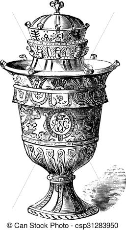 Clipart Vector of Vase of Rouen, vintage engraving..