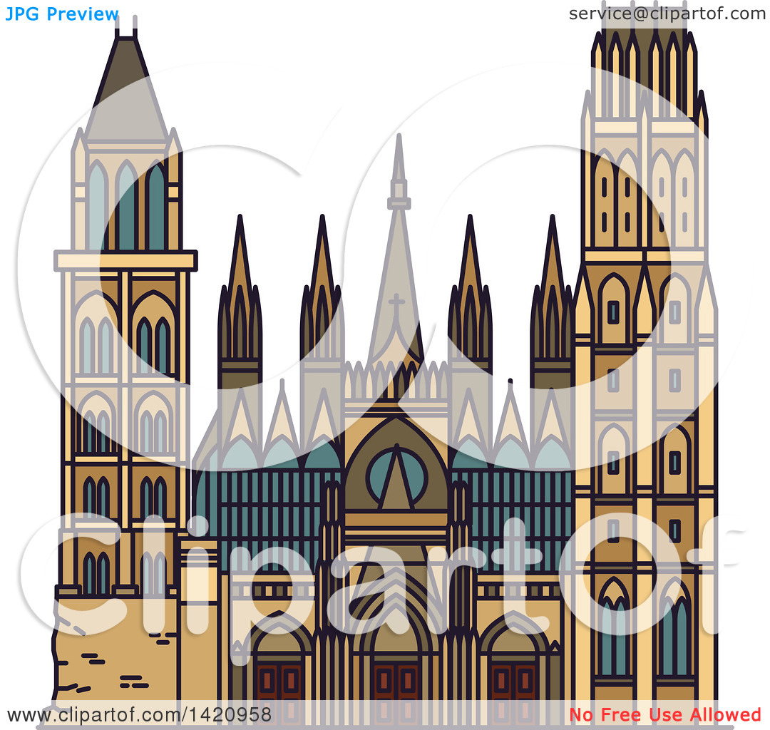 Clipart of a French Landmark, Rouen Cathedral.